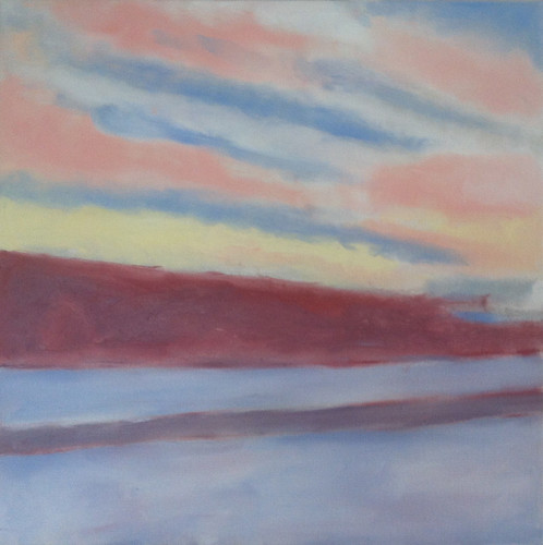 Winter Drive at Sunset (Oil Bar Painting as of June 10, 2013) by randubnick