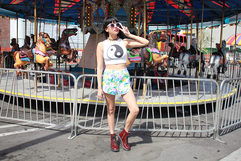 Everland Clothing Crying Shame Yin Yang Crop Top, vintage floral shorts, Peyton Spiked Headband, Maroon Patent Docs at Tarte Vintage shoptarte.com