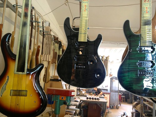 Mayones guitars and basses, pained and ready for the next step.