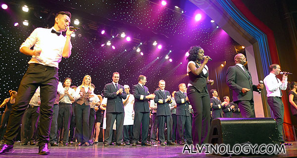 All the Royal Caribbean performers on stage for a finale song and dance item