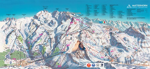 Zermatt / Matterhorn ski paradise - mapa sjezdovek