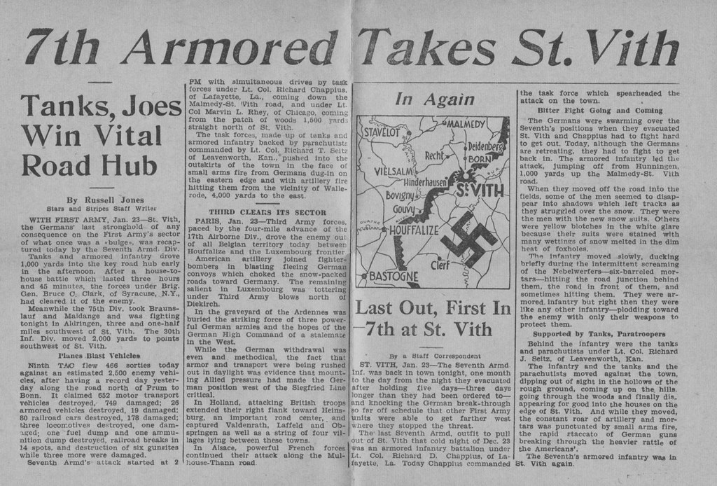 World War 2 WWII WW2 World War II 7th armored division st vith battle of the bulge 1945 newspaper