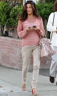 Eva Longoria Beige Jeans Celebrity Style Women's Fashion