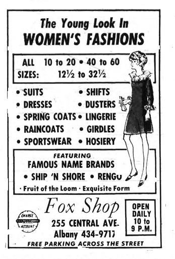 Fox shop  womens clothing store 1960s Albany NY