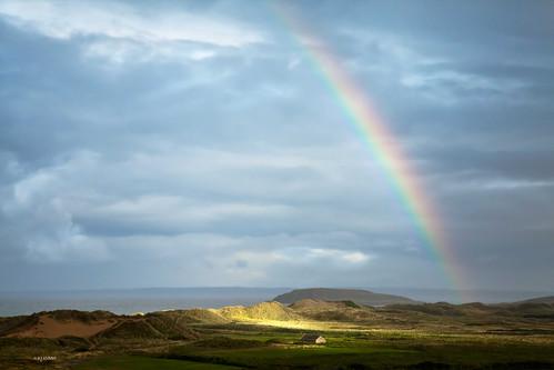 Rainbow over Burry Holm - Explore 9 September 2013 - Thanks!