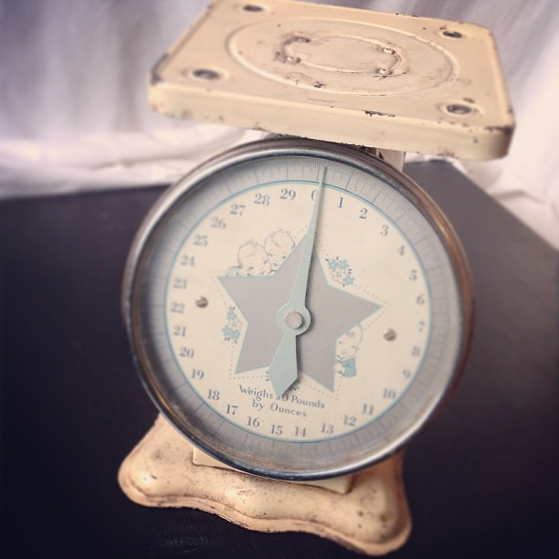 Recently discovered: vintage baby scale. #vintagesoup