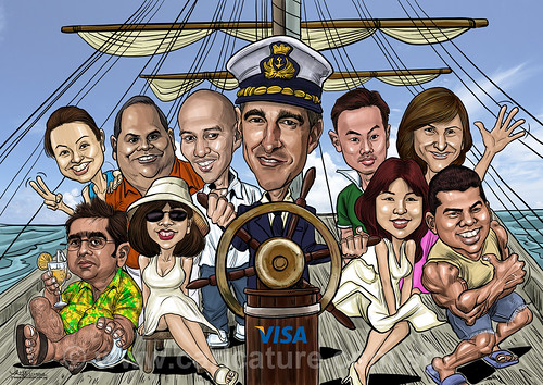 digital group caricatures for VISA International - A6 (watermark)