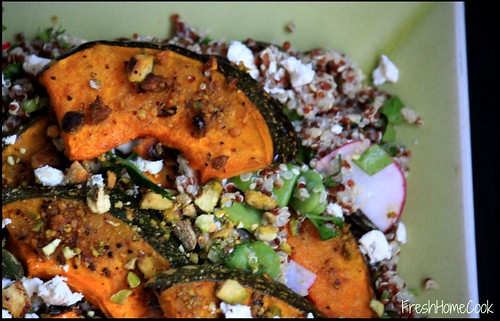 Quinoa Salad with Roasted Pumpkin, Pistachios & Fresh Greens