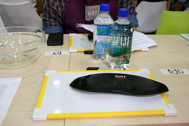 Our tools - blindfold, whiteboard, marker and FIJI water!