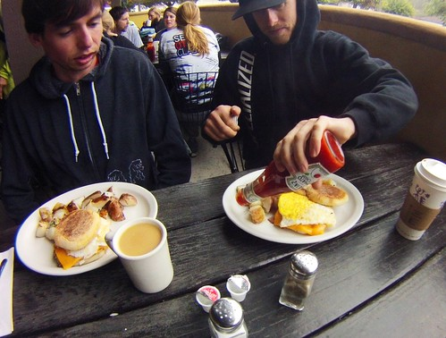 Andrew and Benny enjoy a free egg sandwich from Mollie's Country Cafe in Scotts Valley