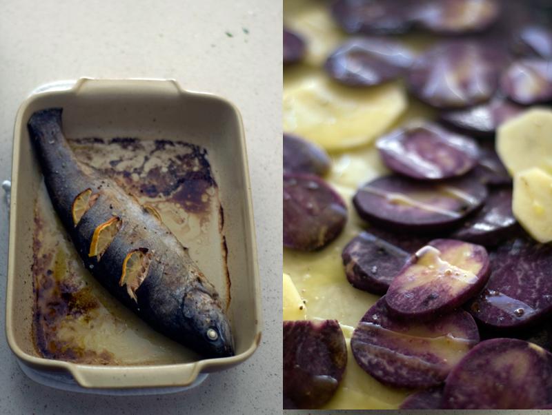 Truta e chips de batata vitelotte