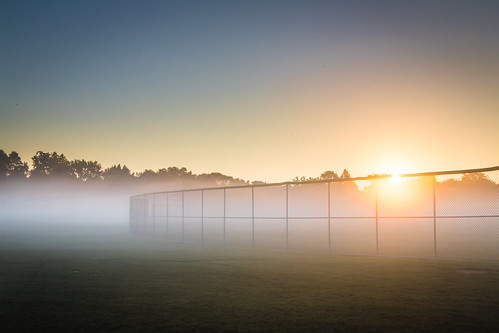 trees sun field silhouette fog sunrise fence illinois day baseball foggy sunny fair clear 6d grss downersgrove whitlockpark kevinroddephoto kevinroddephotography
