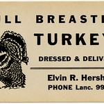 Tue, 2018-11-13 10:22 - 'Full breasted turkeys dressed & delivered. Elvin R. Hershey. Phone Lanc. 9906.'  A postcard-sized advertisement for Thanksgiving turkeys in Lancaster, Pennsylvania. For a similar ad, see It's Turkey Time.