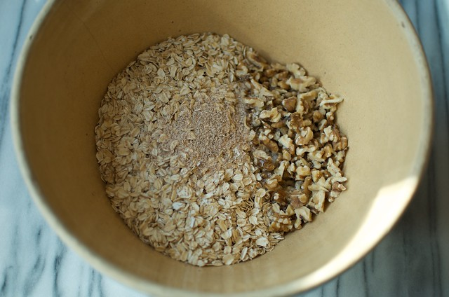 oats, walnuts, nutmeg and kosher salt