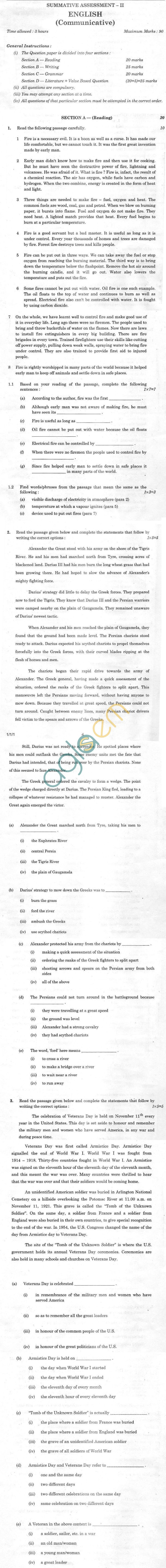 CBSE Board Exam Class 10 SA2 Sample Question Paper –English Communicative
