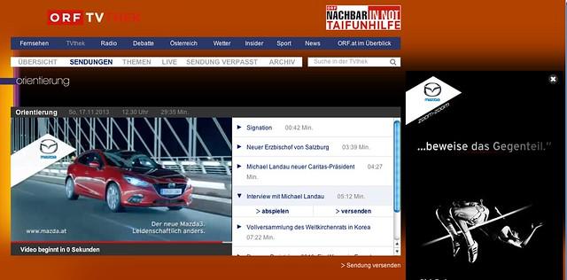 Werbung auf der TV-Thek des ORF