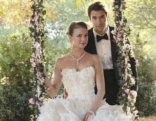 Emily Thorne ruffled wedding gown & strapless gown
