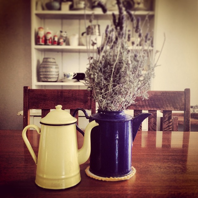 An early Christmas present from Dave. A vintage French, butter and navy coloured, enamel coffee pot, sourced from a market in Paris by 'Parisian Influence'. #vintage #coffeepot #enamel #love