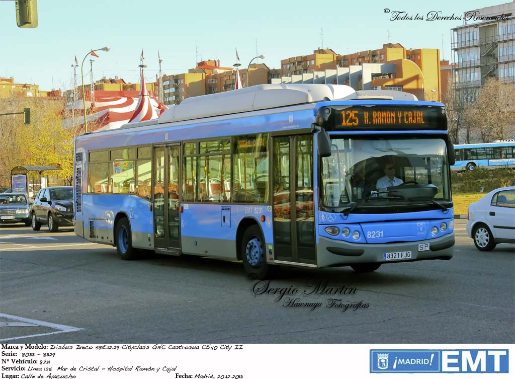 Emt madrid 8231 irisbus iveco cityclass gnc castrosua for Oficina emt madrid