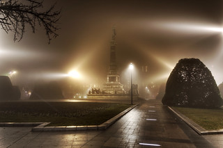 Image of Liberty Monument near Ruse. fog night citycenter hdr rousse monumentofliberty