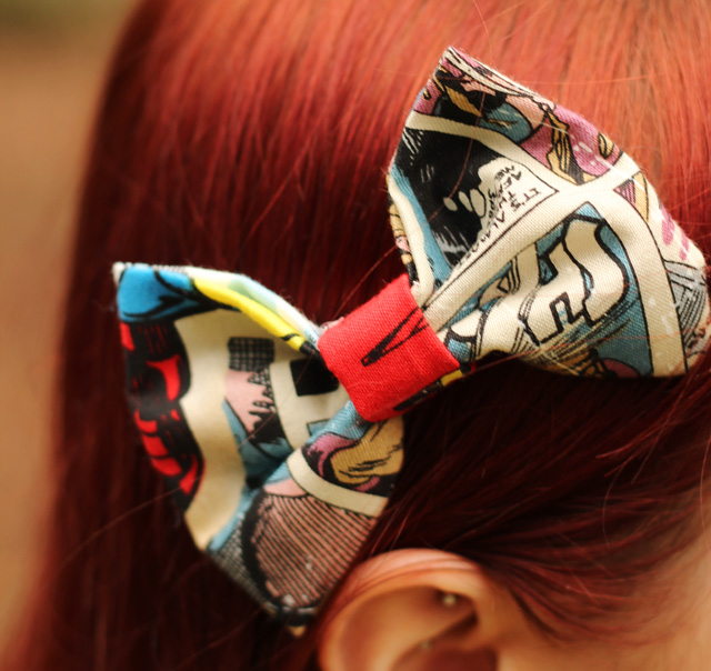 Avengers Comic Book Print Hair Bow