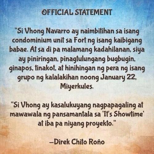 Vhong statement