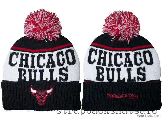 671c8af2 ... Bulls Black Winter Hats NBA Beanie Pom Poms Chicago Knit Caps Mitchell  Ness | by wushi