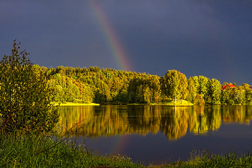 trees light house water norway reflections river rainbow thunderstorm thunder sarpsborg glomma canon50d sigma50mmf14 bentvelling jelsnes