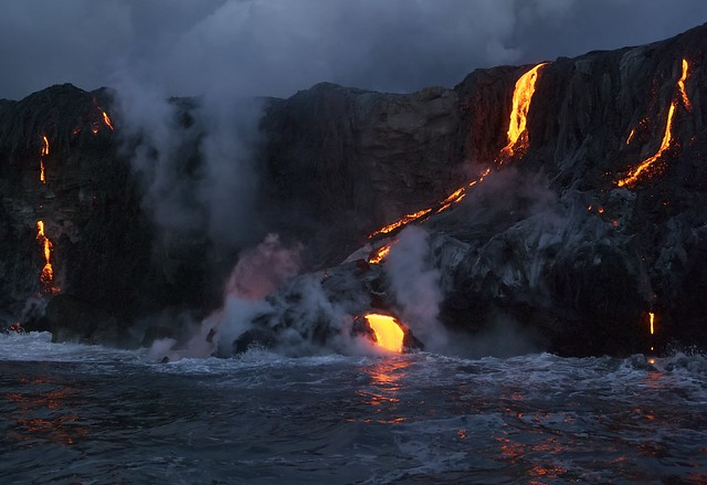 Kīlauea Flowing into the Pacific, Big Island, Hawaii