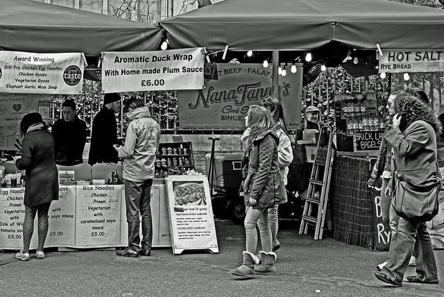 Fast Food Stall - Southwark - Borough Market (BW) (Fuji X-T1 & 35mm F1.4 Prime Lens)