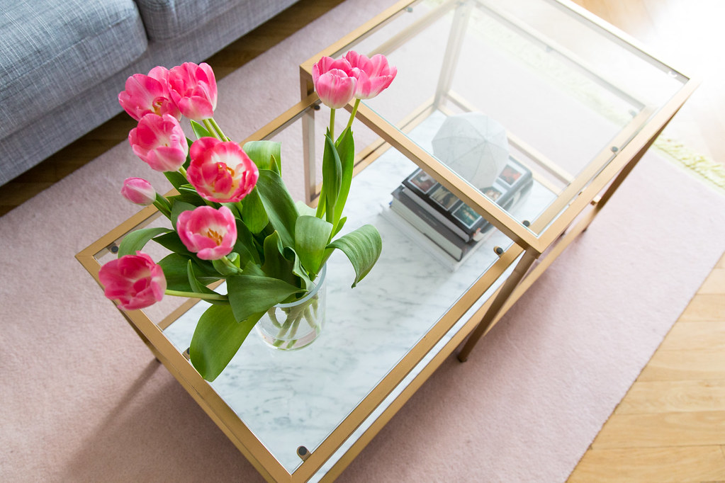 Gold and marble IKEA hack table