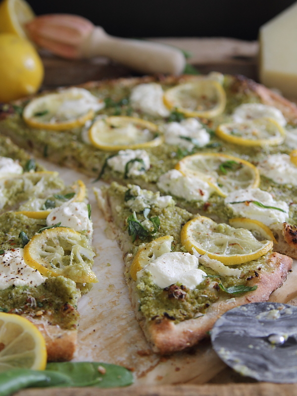 Spring pea pesto white pizza with lemons