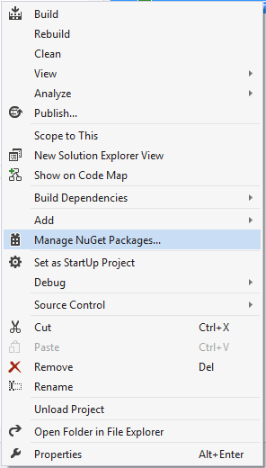 2. manage nuget package