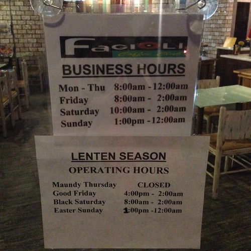 Fagioli Coffee Club Davao Business Hours This Lenten Season 2014
