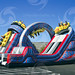 Our latest and greatest obstacle challenge mirrors the excitement of a real roller coaster which is the featured ride at any amusement park. Experience the twisting turns, climbing the mountains and zipping down the other side. This ride is a SCREAM!