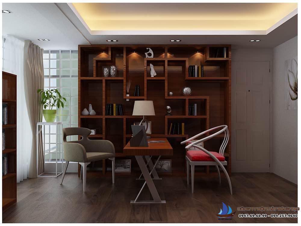 thiết kế Kệ sách và bàn đọc trong phòng đọc sách