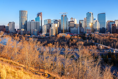 world park ca city sunset canada building calgary water skyline skyscraper river town twilight downtown cityscape dusk ab alberta northamerica bowriver goldenhour 2015