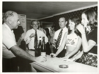 Lionel Collard pours wine for prospective customers at the small wine shop attached to Sutton Baron Cellars, Lincoln Road, Henderson