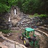 My high school alma mater is restoring a long abandoned Marian grotto back in the woods!