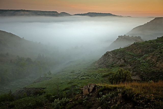 Morning fog sunrise Theodore Roosevelt NP