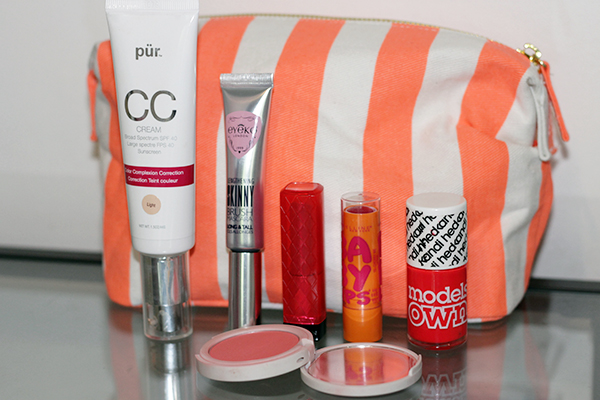 Summer Makeup Bag PURMinerals CC Cream, Eyeko Skinny Brush Mascara, Revlon Lip Butter, Maybelline Baby Lips, Models Own Hedonist