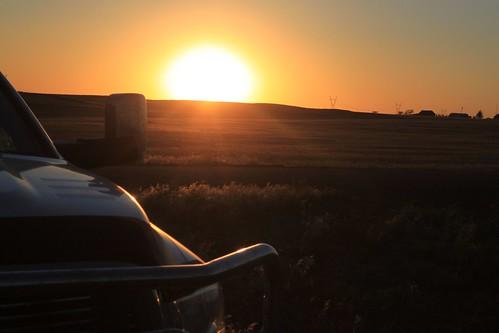 Nebraska sunset on the Dodge.