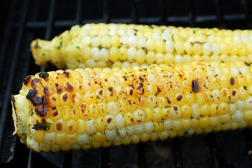 Grilling the corn by Eve Fox, the Garden of Eating blog, copyright 2013