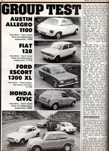 Austin Allegro 1100 - Fiat 128 - Ford Escort 1300 XL & Honda Civic 1200 Group Road Test 1973 (1)