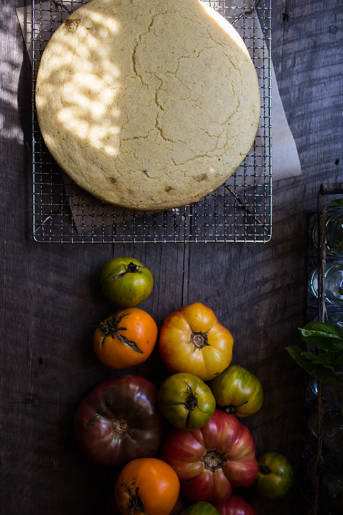 buttermilk cornbread + heirloom tomatoes