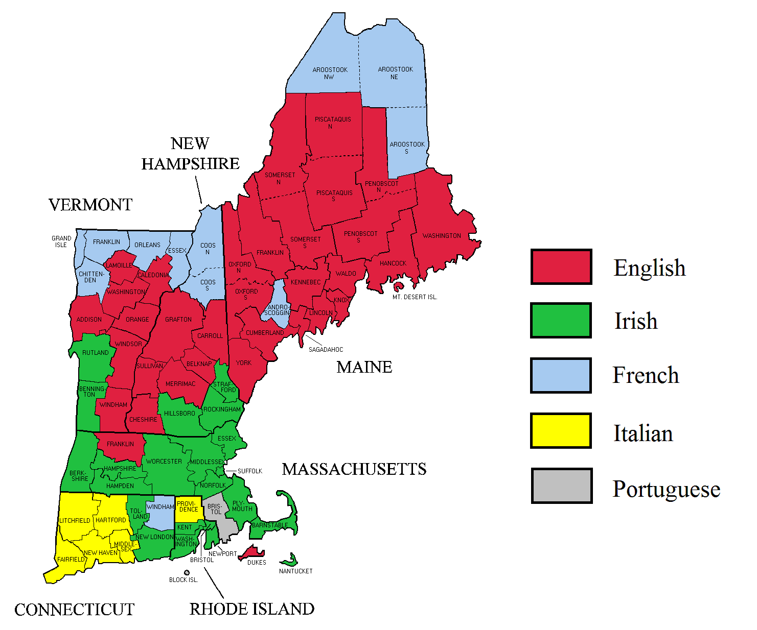 Afternoon Map Ethnic Maps of New England