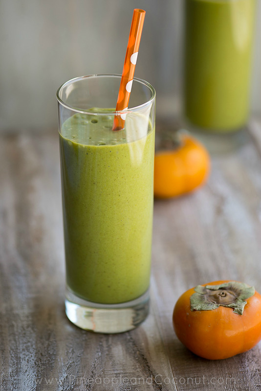 Persimmon and Medjool Date Green Monster Smoothie www.pineappleandcoconut.com