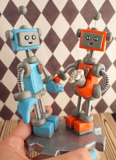 Robot Wedding Cake Topper: Blue and Orange