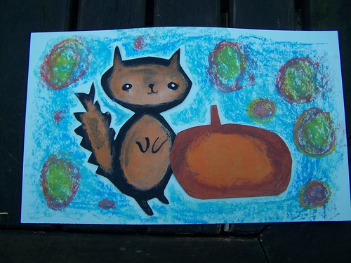 Squirrel with pumpkin by Emilyannamarie