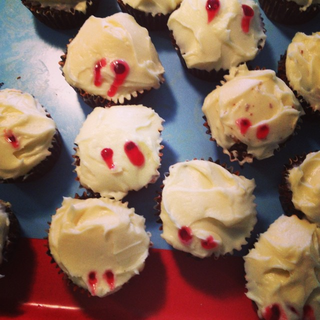 a vampire bit our cupcakes. #halloweenfest